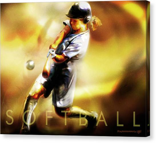 Softball Canvas Print - Women In Sports - Softball by Mike Massengale