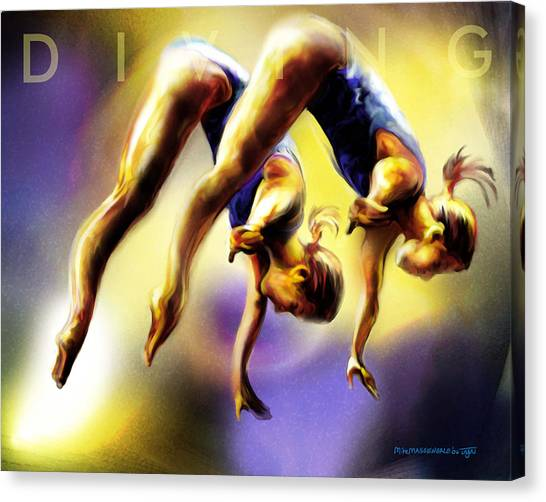 Women In Sports - Tandom Diving Canvas Print