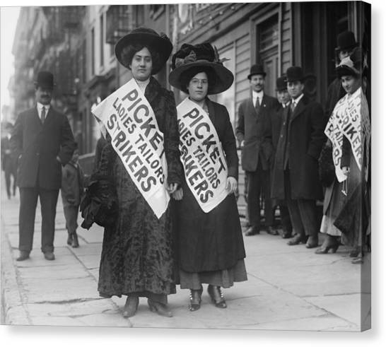 Protest Canvas Print - Women Strike Pickets From Ladies by Everett