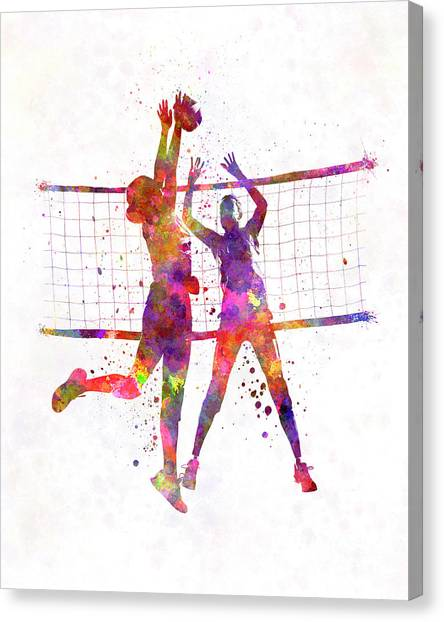 Volleyball Canvas Print - Women Volleyball Players In Watercolor by Pablo Romero