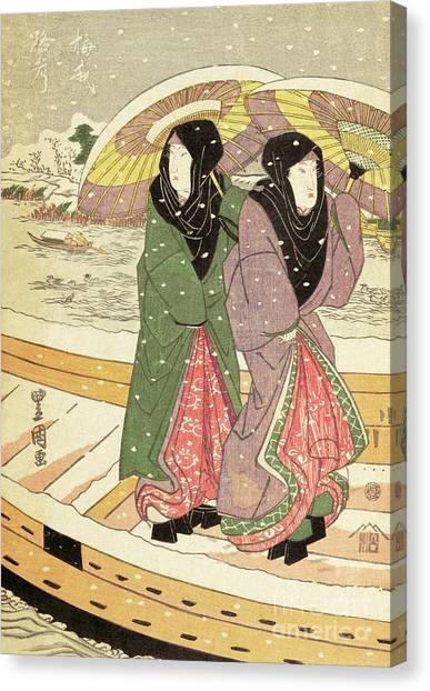 Japanese Umbrella Canvas Print - Women Walking Over A Bridge In Snow by Hiroshige