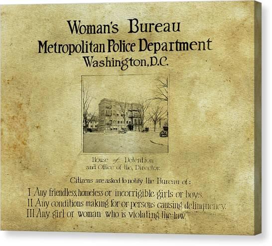Women's Bureau House Of Detention Poster 1921 Canvas Print