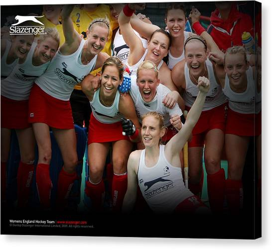 Hockey Teams Canvas Print - Womens England Hockey Team by Super Lovely