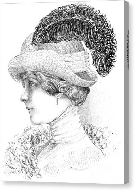 Fashion Plate Canvas Print - Women's Fashion Plate Depicting Hat By Robert Funke, Sketch, 1910 by Austrian School