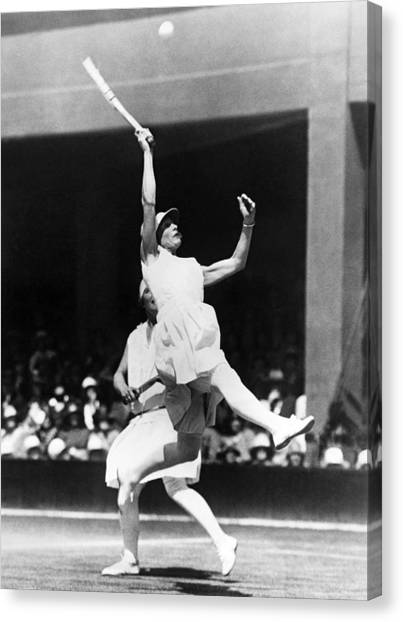 Tennis Racquet Canvas Print - Women's Tennis At Wimbledon by Underwood Archives