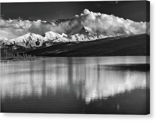 Denali Canvas Print - Wonder Lake In Black And White by Rick Berk