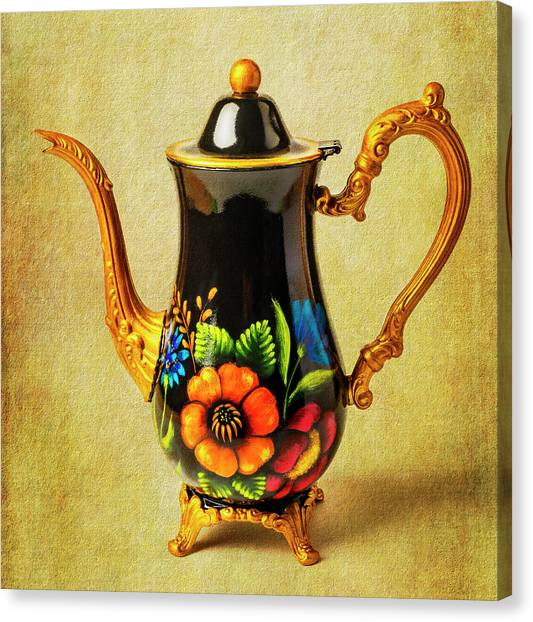 Tea Time Canvas Print - Wonderful Painted Teapot by Garry Gay