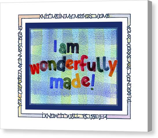 New Baby Canvas Print - Wonderfully Made by Judy Dodds