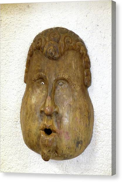 Canvas Print - Wood Carved Face by Francesca Mackenney