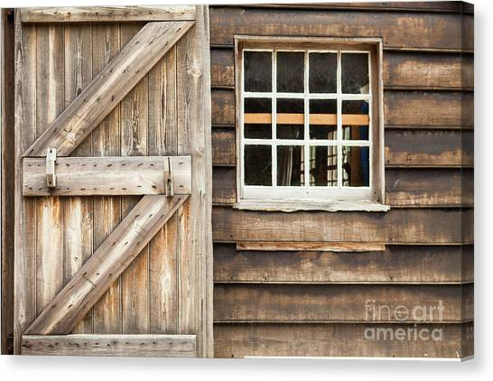 Wood Door And Window Canvas Print