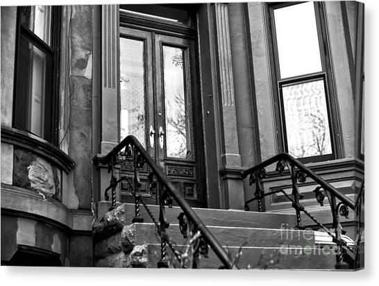Wood Door In Park Slope Canvas Print by John Rizzuto