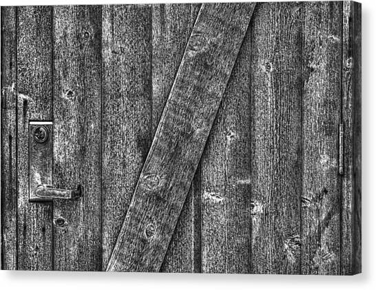 Wood Door With Handle Detail Canvas Print