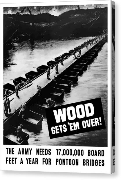 Pontoon Canvas Print - Wood Gets 'em Over by War Is Hell Store