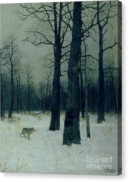 1900 Canvas Print - Wood In Winter by Isaak Ilyic Levitan
