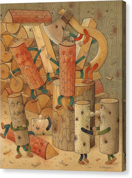 Axes Canvas Print - Wood by Kestutis Kasparavicius