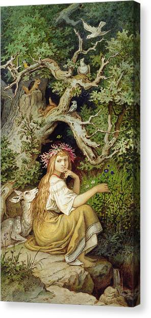 Long Hair Canvas Print - Wood Nymph  by Ludwig Adrian Richter