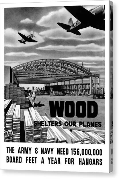 Conservation Canvas Print - Wood Shelters Our Planes - Ww2 by War Is Hell Store