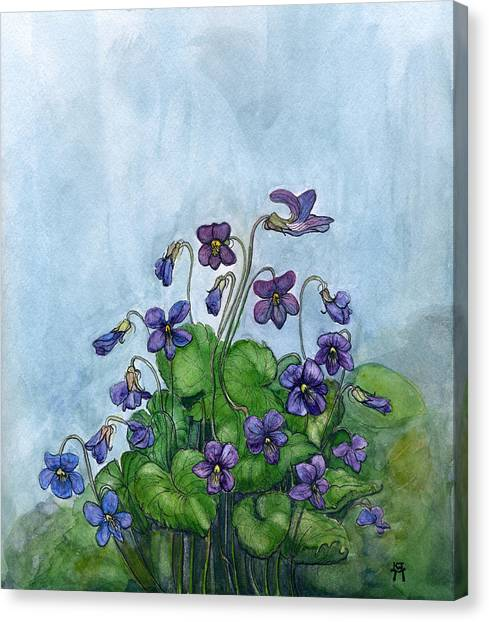Wood Violets Canvas Print