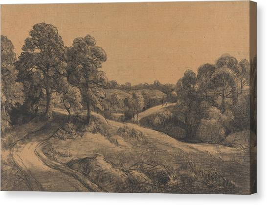 Country Roads Canvas Print - Wooded Slope With A Receding Road by John Constable