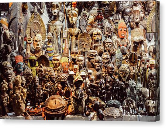 Wooden African Carvings Canvas Print