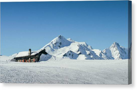 Wooden Alpine Cabin  Canvas Print