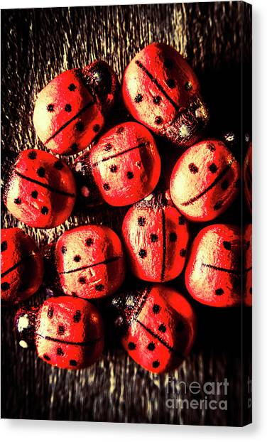Ladybugs Canvas Print - Wooden Beetle Bugs by Jorgo Photography - Wall Art Gallery