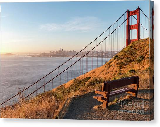 Wooden Bench Overlooking Downtown San Francisco With The Golden  Canvas Print