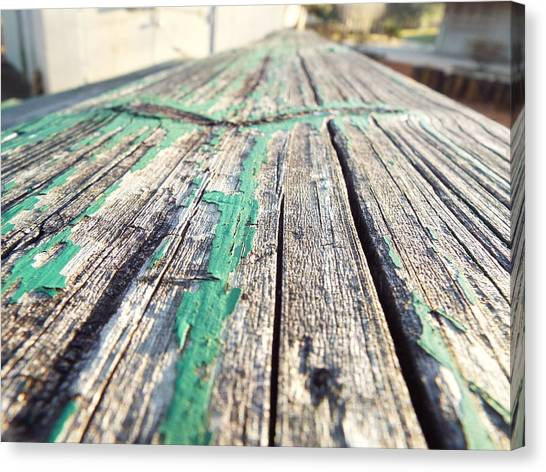 Softball Canvas Print - Wooden Bleachers by Shelby Boyle
