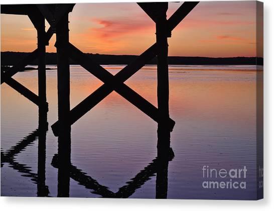 Wooden Bridge Silhouette At Dusk Canvas Print