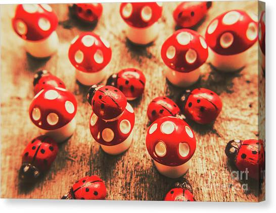 Mushrooms Canvas Print - Wooden Bugs And Plastic Toadstools by Jorgo Photography - Wall Art Gallery