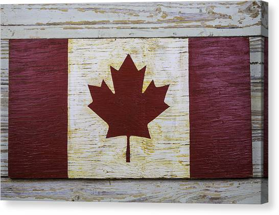Gay Flag Canvas Print - Wooden Canadian Flag by Garry Gay