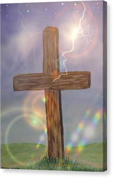 Canvas Print - Wooden Cross by Pamula Reeves-Barker