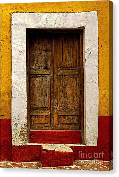 Wooden Door With White Trim Canvas Print by Mexicolors Art Photography