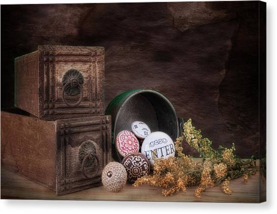 Old Door Canvas Print - Wooden Drawers And Knobs Still Life by Tom Mc Nemar