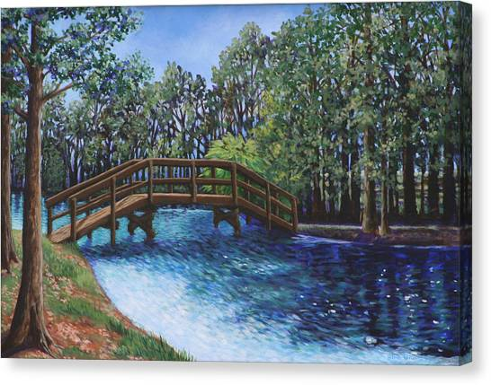 Wooden Foot Bridge At The Park Canvas Print