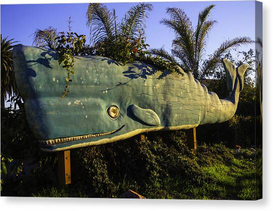 Sperm Whales Canvas Print - Wooden Green Whale by Garry Gay