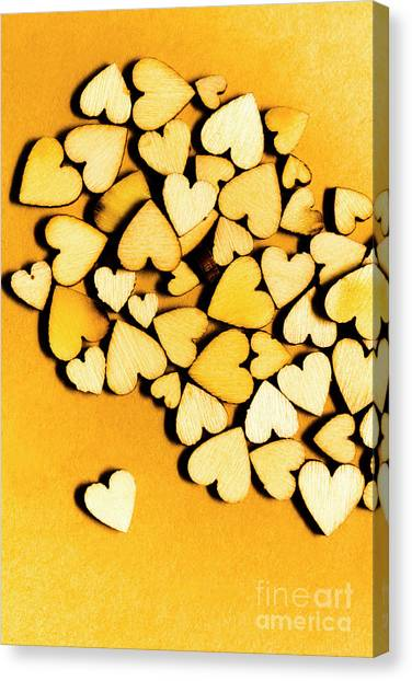Connection Canvas Print - Wooden Hearts With Sentimental Single by Jorgo Photography - Wall Art Gallery