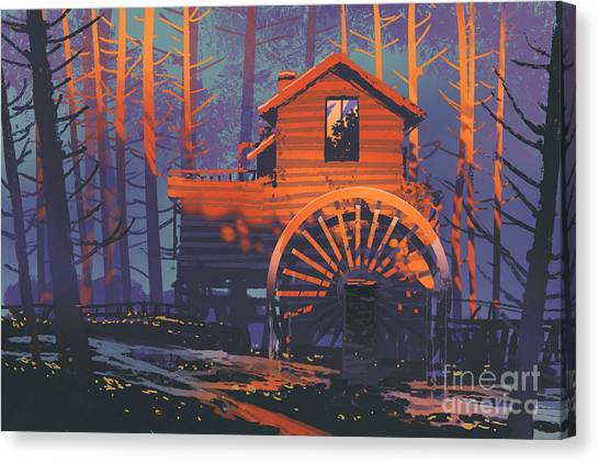 Canvas Print featuring the painting Wooden House by Tithi Luadthong