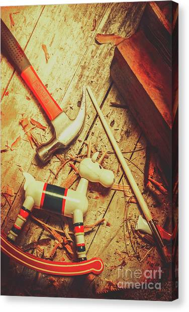 Wooden Canvas Print - Wooden Model Toy Reindeer. Christmas Craft by Jorgo Photography - Wall Art Gallery