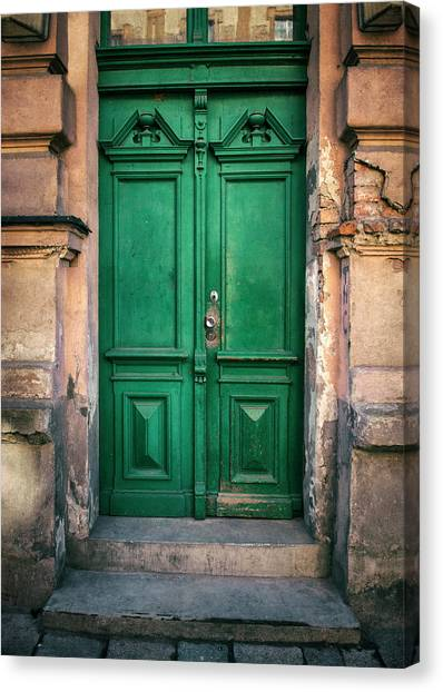 Architectur Canvas Print - Wooden Ornamented Gate In Green Color by Jaroslaw Blaminsky