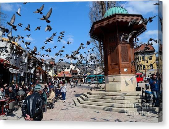 Wooden Ottoman Sebilj Water Fountain In Sarajevo Bascarsija Bosnia Canvas Print