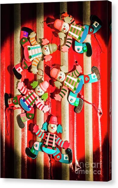 Clown Art Canvas Print - Wooden Puppet Show by Jorgo Photography - Wall Art Gallery
