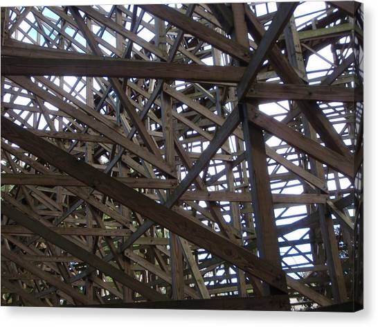 Wooden Rollercoaster Canvas Print by Anthony Haight