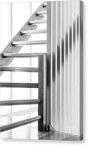 Canvas Print featuring the photograph Wooden Staircase Black And White by Tim Hester