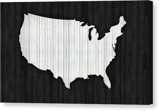 Old Plank Tables Canvas Print - Wooden Usa  Map by Art Spectrum