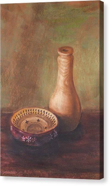 Wooden Vase Canvas Print by Srilata Ranganathan