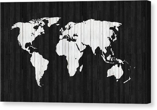 Old Plank Tables Canvas Print - Wooden World Map by Art Spectrum