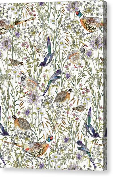Repeat Canvas Print - Woodland Edge Birds by Jacqueline Colley