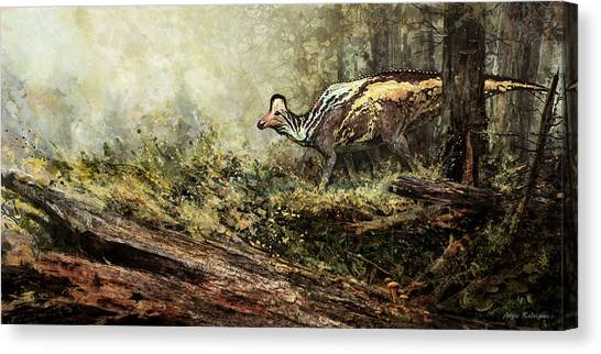 Woodland Encounter - Corythosaurus Canvas Print by Angie Rodrigues