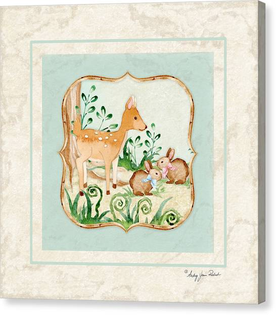 Deer Canvas Print - Woodland Fairy Tale - Deer Fawn Baby Bunny Rabbits In Forest by Audrey Jeanne Roberts